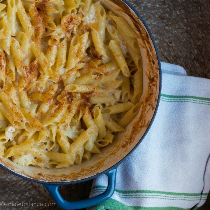 Cauliflower Mac & Cheese baked in a ceramic enameled pot