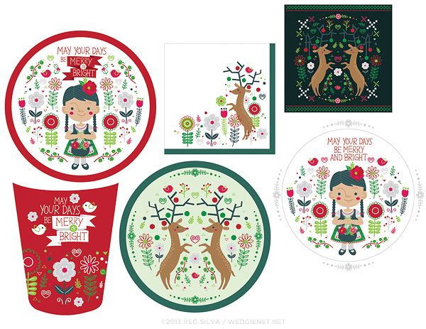 Holiday folk art party paper