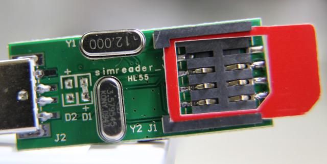 Photo of SIM card reader PCB with SIM slot visible