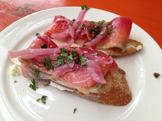 Beet-cured gravlax crostini - Percy's & Co.