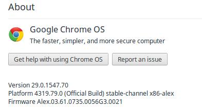 Google Chrome OS เวอร์ชันที่ผมใช้อยู่ ณ ตอนนี้