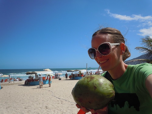 Staying Hydrated with fresh Coconut Water at Ipanema Beach