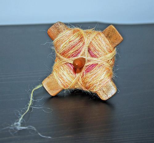 Wensleydale wool on Jenkins Delight carob Turkish spindle
