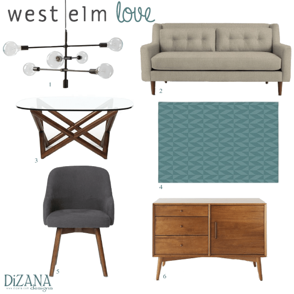 west elm crosby chair diy recliner covers love susanna jane sofa 3 spindle coffee table 4 andes wool rug 5 saddle office 6 mid century media console