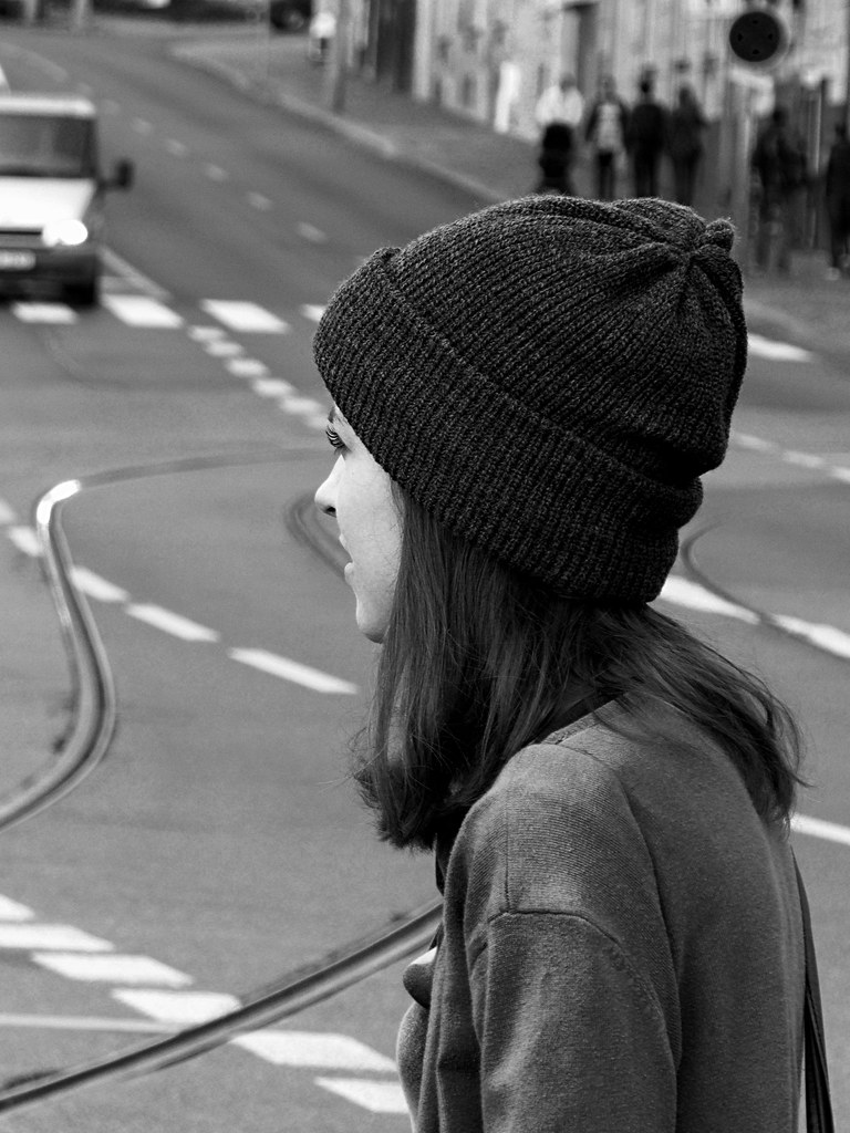 Schoolgirl at Crosswalk B&W