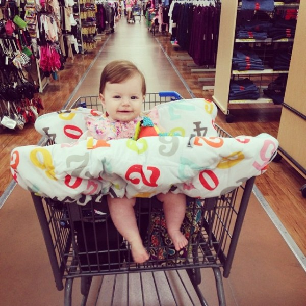 Not quite ready to ride in the cart like a big girl, but eh, we did it anyway. And we shopped for over an hour!