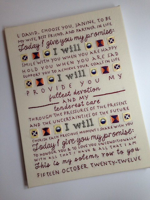 Custom wedding vows - tapestry inspiration
