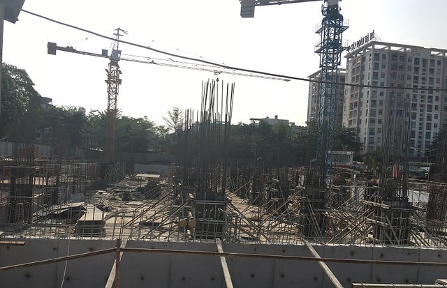 Hình ảnh thực tế khu căn hộ Cityland Park Hills - Gò Vấp đang được thi công phần móng Block CH3.