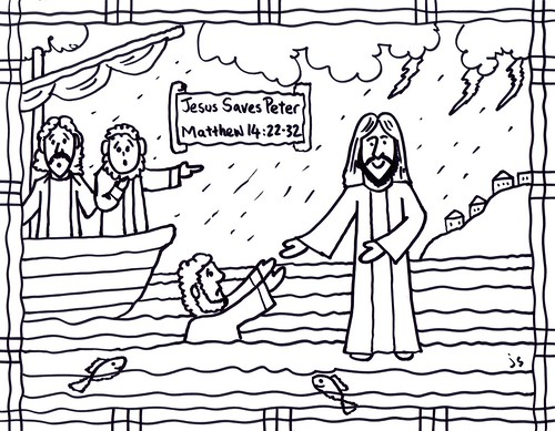 Jesus Walks on Water coloring page and Bible card