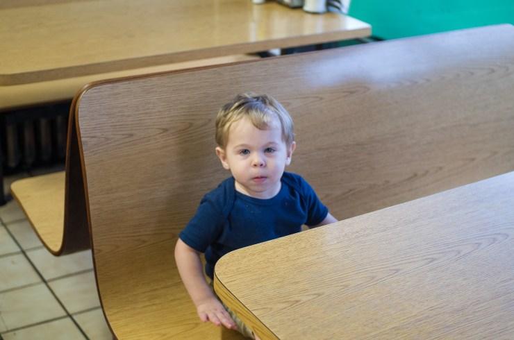 Micah waiting at Jerry's