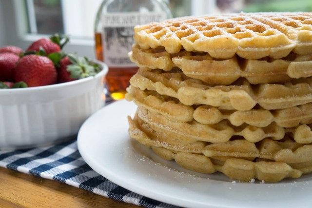 Stack of waffles, ready to eat | Striped Spatula