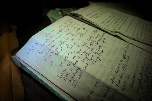 Secret Cave: Old visitor's book entries