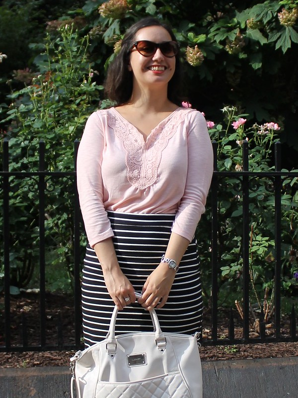 Blush Lace Top and Striped Pencil Skirt