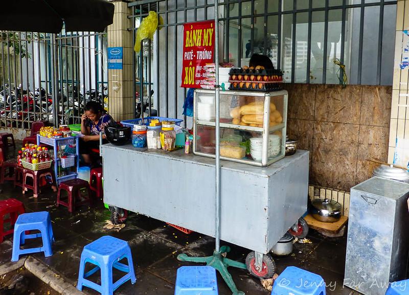 Banh My stand in Hanoi, Vietnam