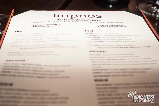 Kapnos Restaurant Week Menu
