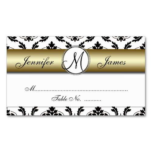 Gold, Black, White Damask Wedding Place Card Business Card Template