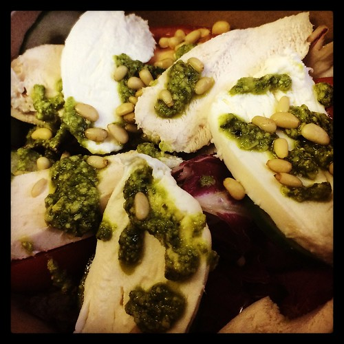 Chicken, mozzarella and pesto salad