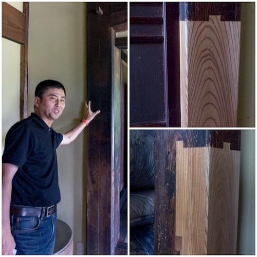こちらは、ささゆり庵の柱についてレクチャーを受けてるところです。松林さんが触ってる柱は、なんと百地三太夫の屋敷の柱だったのだとか。すごっ!  この後、ささゆり庵を後にしました。