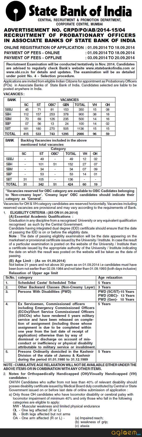 SBI Associate Bank PO Recruitment 2014 Notification