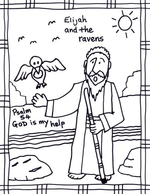 Bible clip art: Elijah and the Ravens