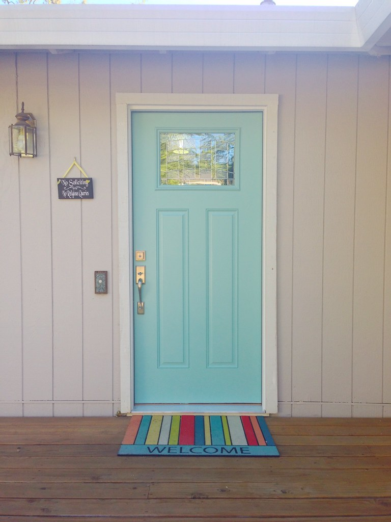 Front Door Painted St. Lucia Teal by Benjamin Moore