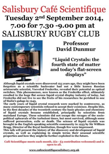 Poster for Prof. David Dunmur