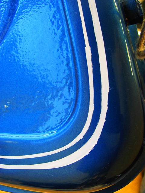 Close Up of Uneven Pinstripes on Lower Right of Gas Tank