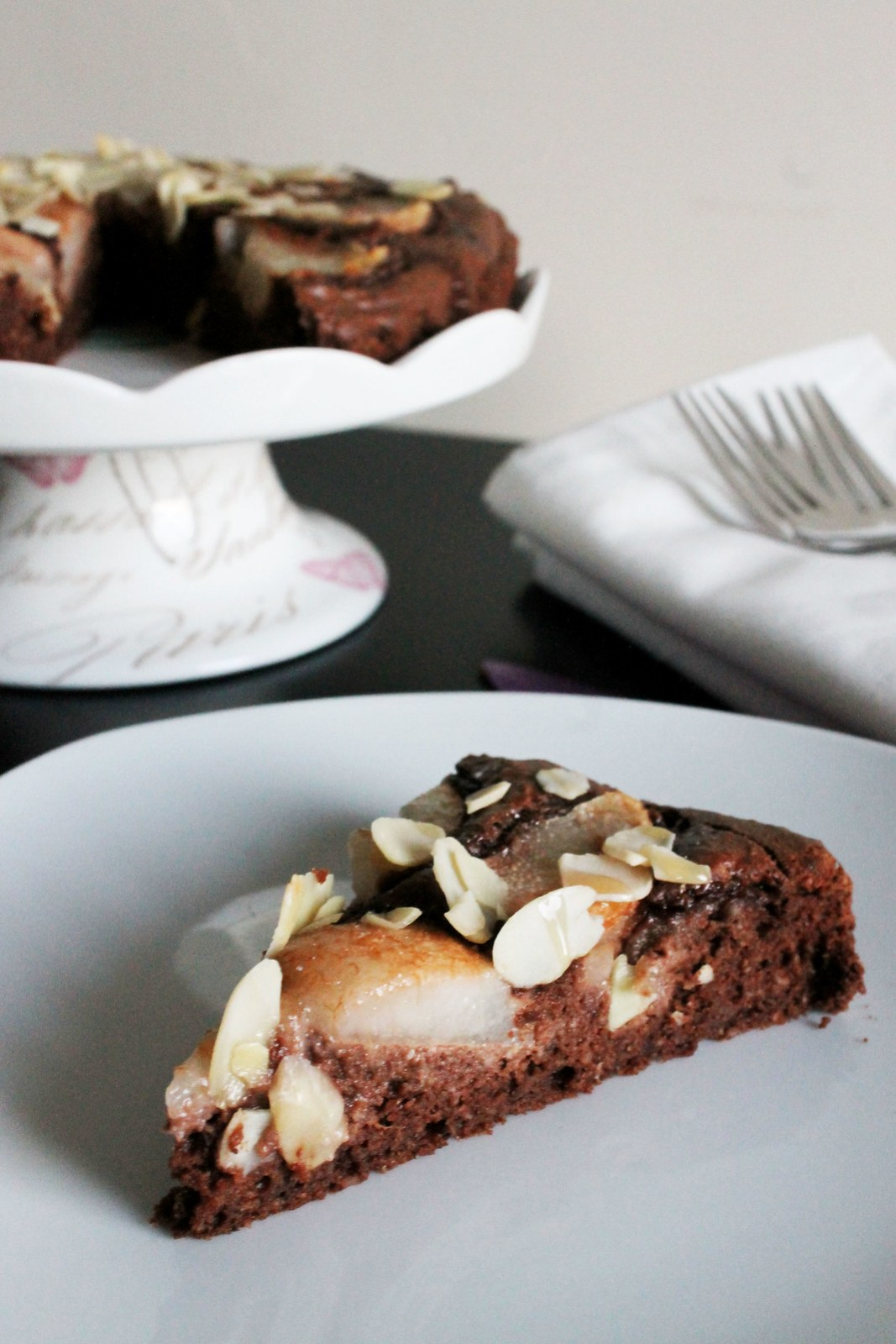 Pear and Almond Chocolate Torte