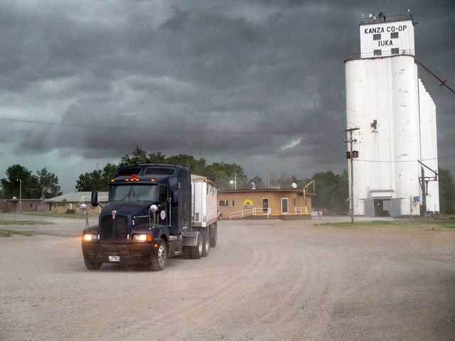 Parking the trucks at the Iuka elevator to avoid the mud