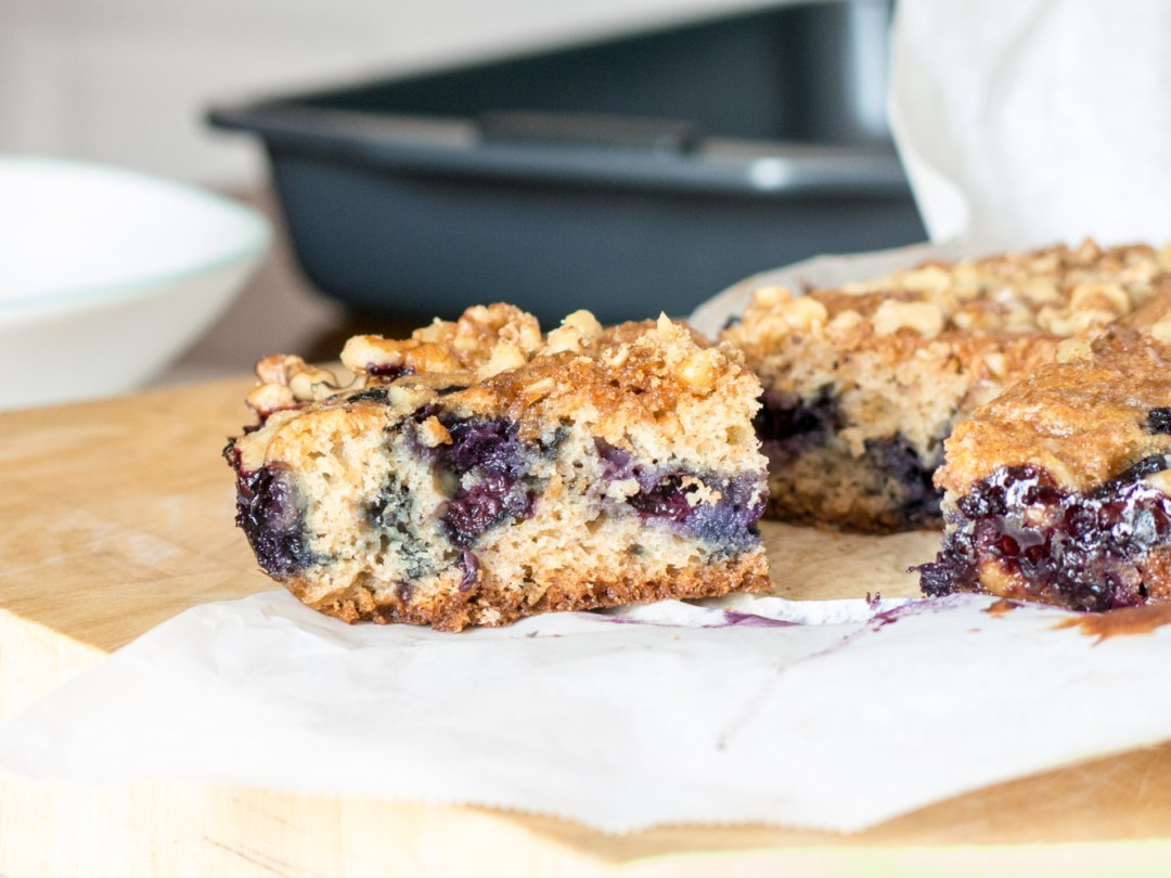 Blueberry Basil Coffeecake with Walnuts walnuts summer dessert coffee cake coffee cake Breakfast blueberries basil