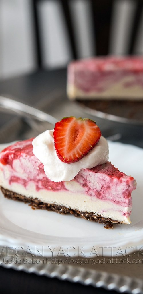 A lusciousStrawberry Swirl Cheesecake with graham cracker crust, and swirled dairy-free filling!From the Decadent Gluten-free Vegan Baking Cookbook.