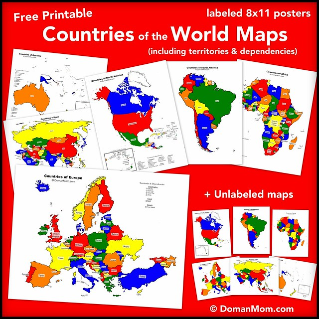 Free Colorful Countries of the World Maps