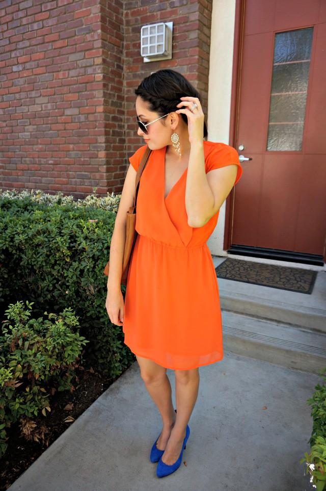 Orange dress and Cobalt heel