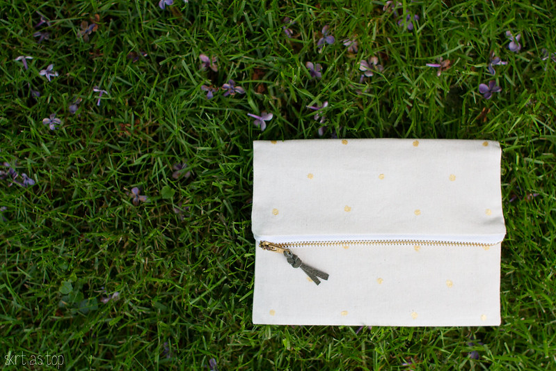 gold polka dot foldover clutch