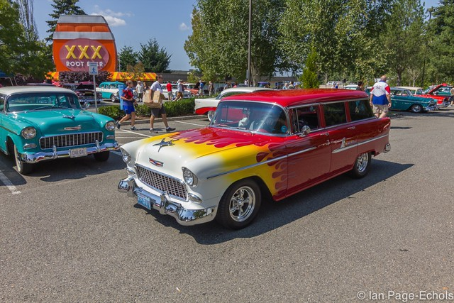Red Flamed 1955 Chevy Wagon