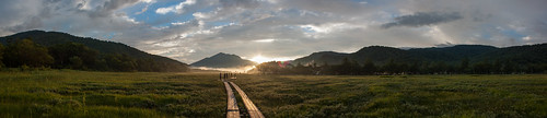 Sunrise at Oze marsh - panorama