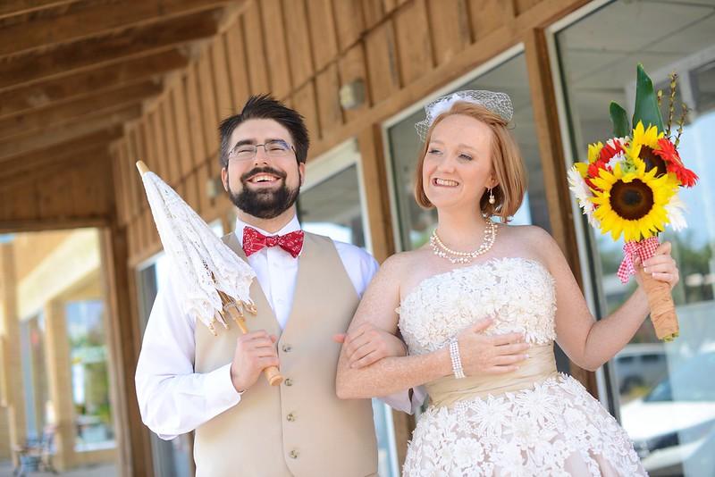 bride and groom dapper