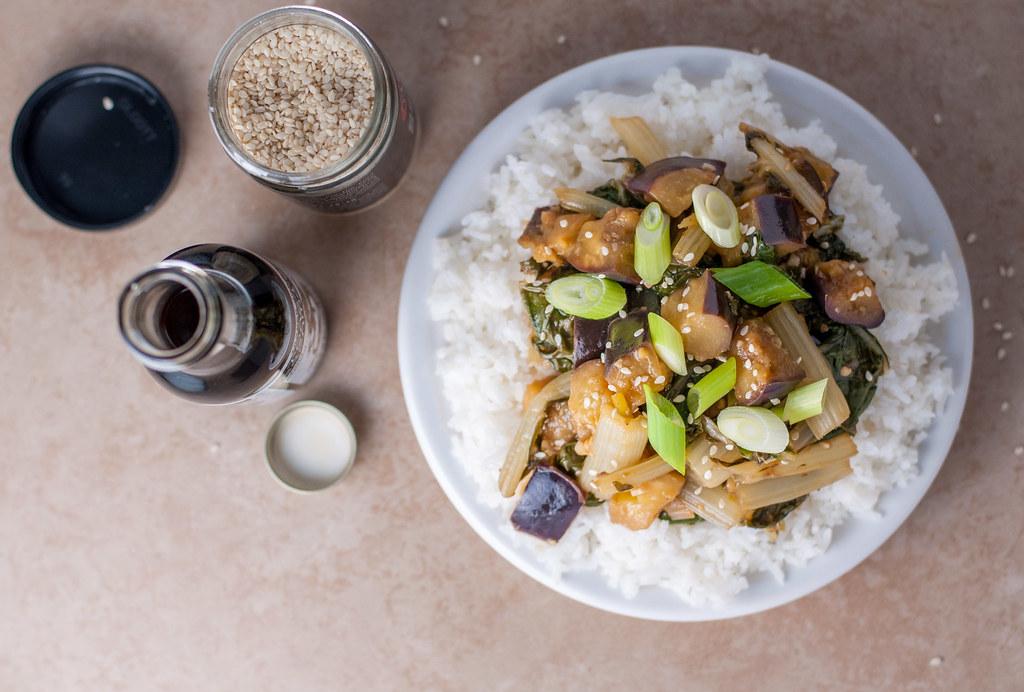 Eggplant chard stir fry overhead 2
