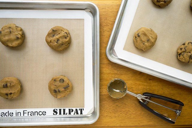 portioned chocolate chunk cookie dough