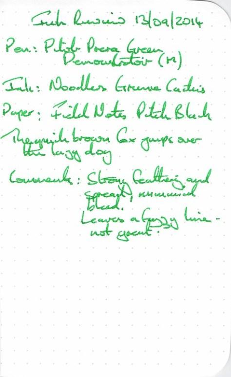 Noodler's Gruene Cactus - Field Notes - Ink Review