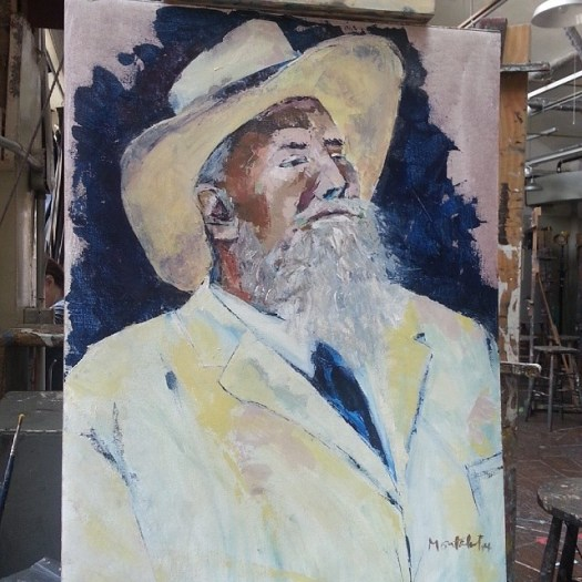 Henry I Acrylic on canvas 18x24 inches July 21, 2014  Changed seats in class today and played with the palette knife. Will try a full portrait tomorrow.  #nyc #art #painting #acrylic #figure #live #male #hat #suit #white #artstudentsleagueofnewyork
