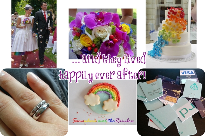 regenbogenhochzeit missxoxolat | rainbow butterfly cake | ehering & verlobungsring | rainbow cookies