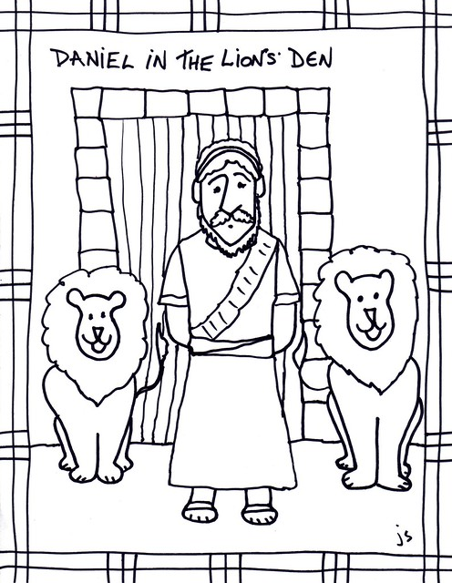 Daniel in Lions Den clip art/ coloring sheet