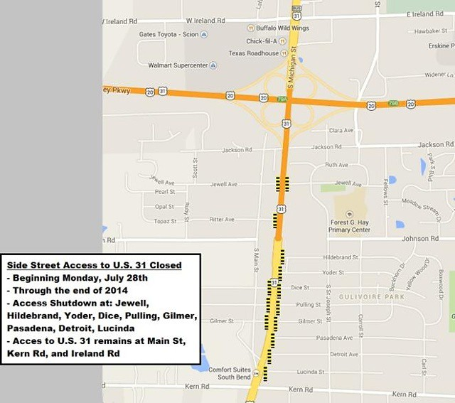 US 31 South Side South Bend Restrictions