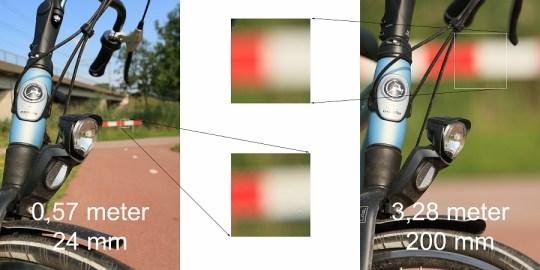 De scherptediepte is gelijk, maar de afmeting van de achtergrond is heel anders door gebruik van een ander brandpunt, in combinatie met de afstand tot je onderwerp