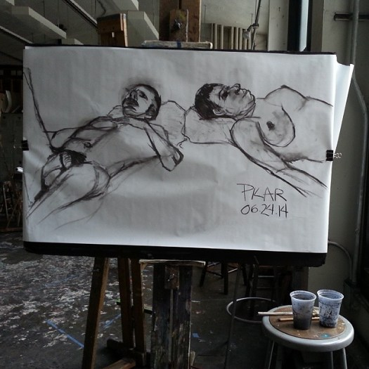 Reclined Male and Female Nude  Charcoal on paper 36x48 inches ( approximate ) June 26, 2014  We always have 2 models posing side by side in class and this was the first time I drew them together. Each was a challenging pose to do on its own -- I wish I ha