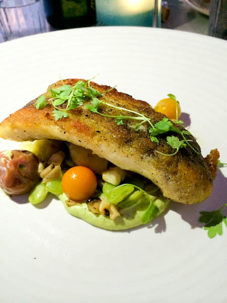 Halibut with English pea sauce | Driftwood Kitchen, Laguna Beach, CA