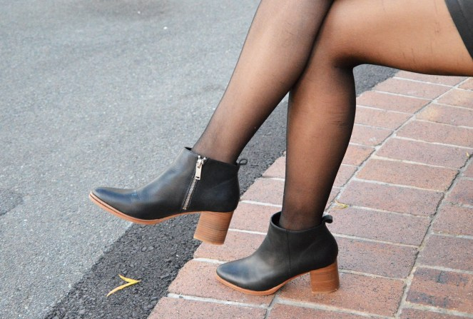 COS black ankle boots, block heels, silver zippers, minimal