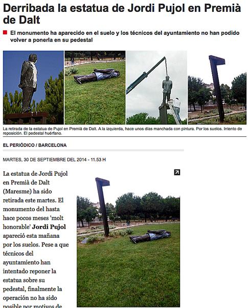 14i30 Derribada la estatua de Jordi Pujol en Premiá