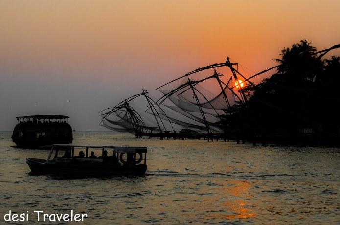 Chinese Fishing net Sunset Fort Cochin